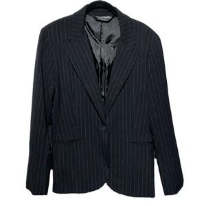 Norma Kamali Dolly Blazer Black White Pinstripe